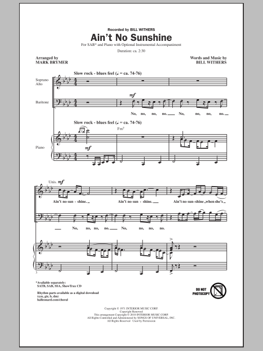 Ain't No Sunshine sheet music for choir and piano (SAB) by Mark Brymer