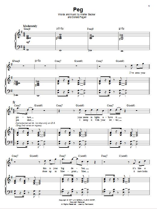 Partition piano Peg de Steely Dan - Piano Voix Guitare (Mélodie Main Droite)
