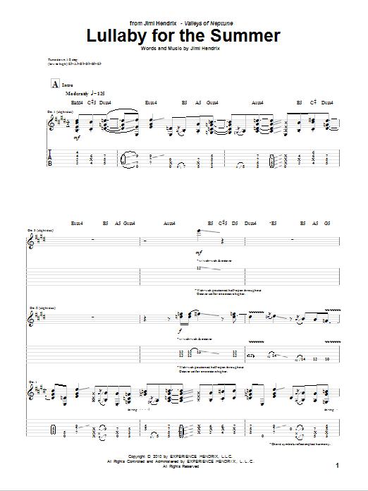 Tablature guitare Lullaby For The Summer de Jimi Hendrix - Tablature Guitare