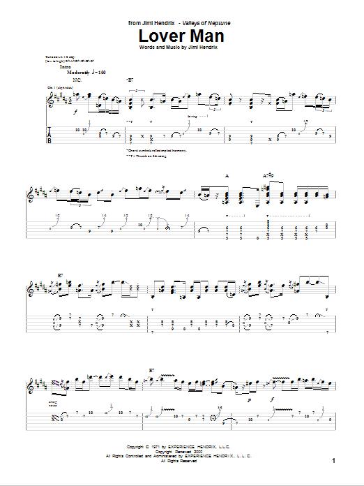 Tablature guitare Lover Man de Jimi Hendrix - Tablature Guitare