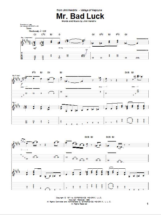 Tablature guitare Mr. Bad Luck de Jimi Hendrix - Tablature Guitare