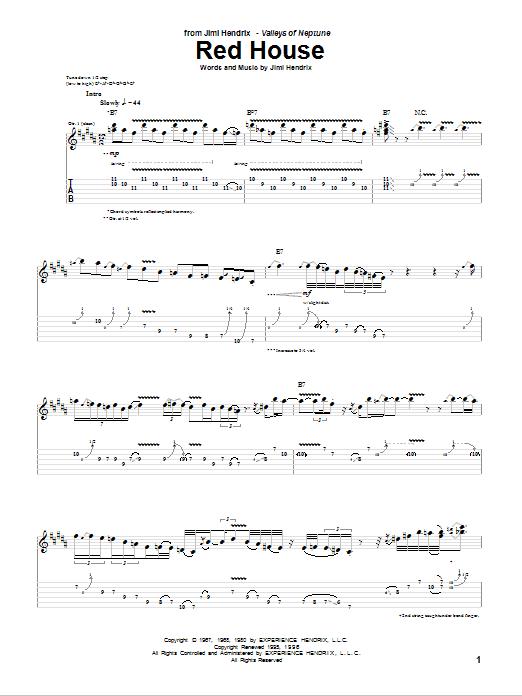 Tablature guitare Red House de Jimi Hendrix - Tablature Guitare