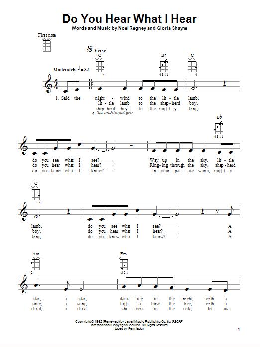 Tablature guitare Do You Hear What I Hear de Gloria Shayne - Ukulele