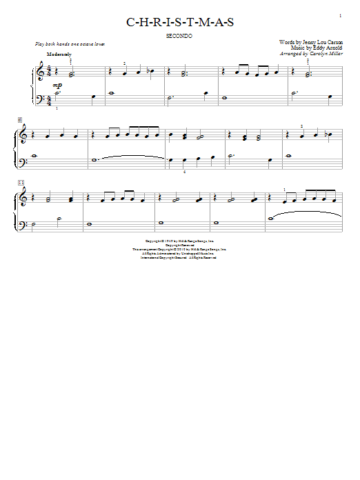 C-H-R-I-S-T-M-A-S sheet music for piano four hands (duets) by Jenny Lou Carson