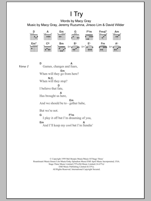 I Try sheet music for guitar solo (chords, lyrics, melody) by Jinsoo Lim