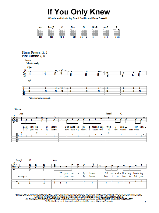 Tablature guitare If You Only Knew de Shinedown - Tablature guitare facile