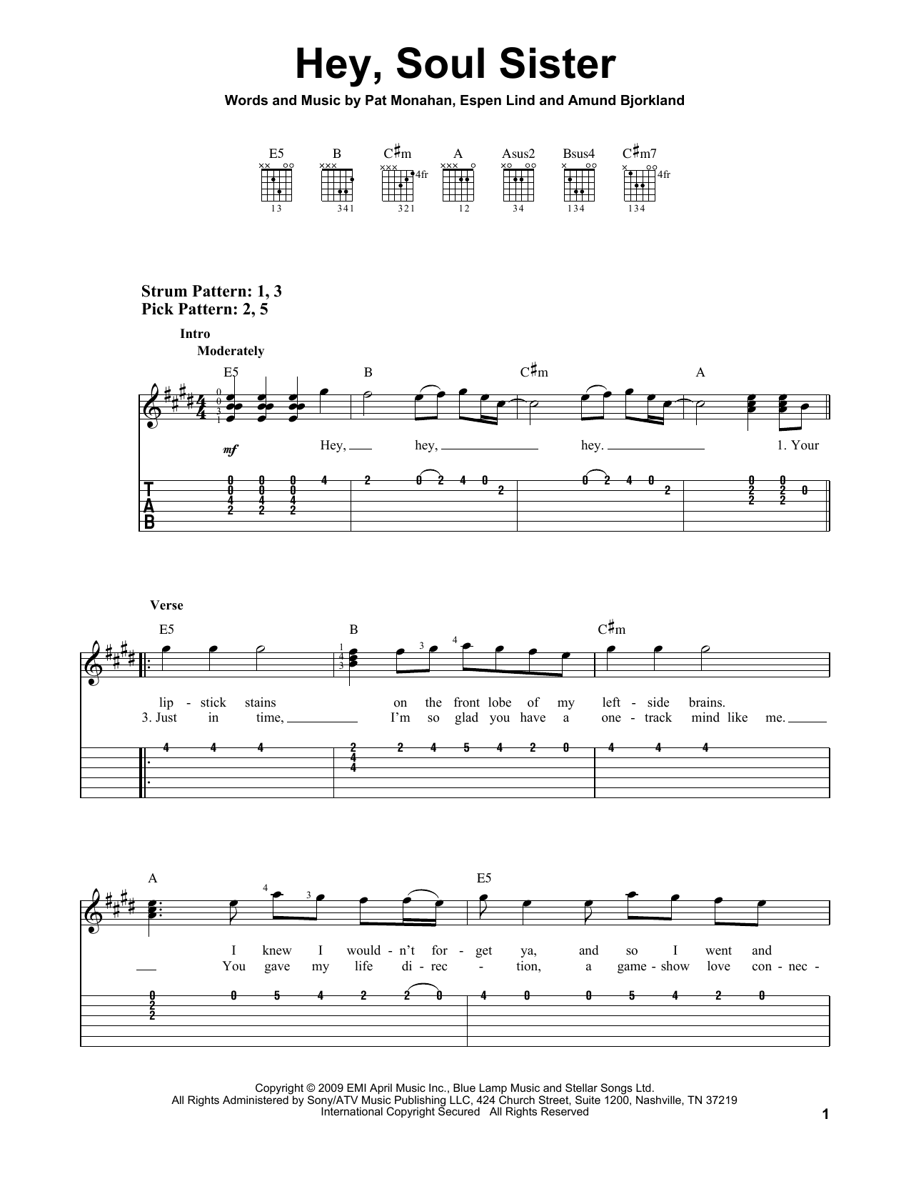 Tablature guitare Hey, Soul Sister de Train - Tablature guitare facile