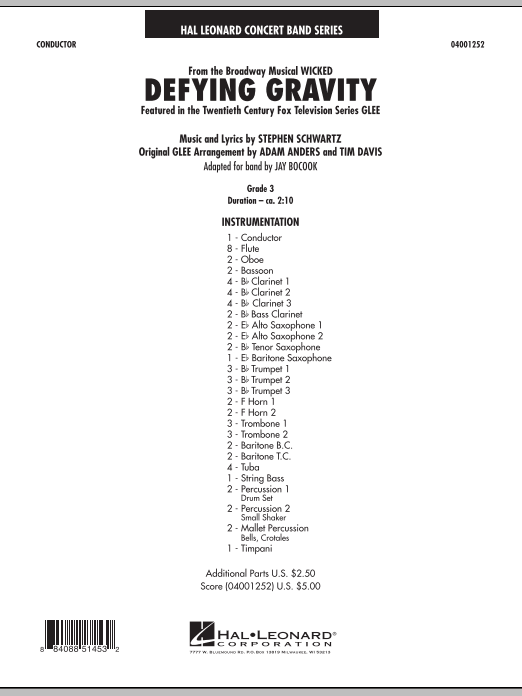 Defying Gravity (from Wicked) (COMPLETE) sheet music for concert band by Jay Bocook