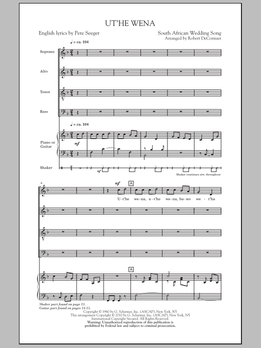 Ut'he Wena sheet music for choir and piano (SATB) by Robert DeCormier