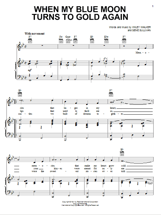 When My Blue Moon Turns To Gold Again sheet music for voice, piano or guitar by Wiley Walker