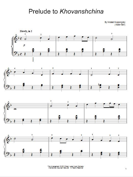 Partition piano Prelude To Khovanshchina de Modest Mussorgsky - Piano Facile