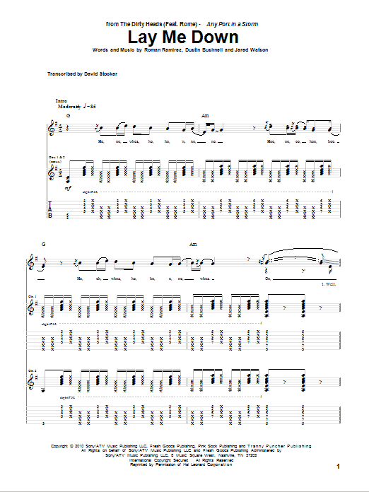 Tablature guitare Lay Me Down de The Dirty Heads featuring Rome - Tablature Guitare