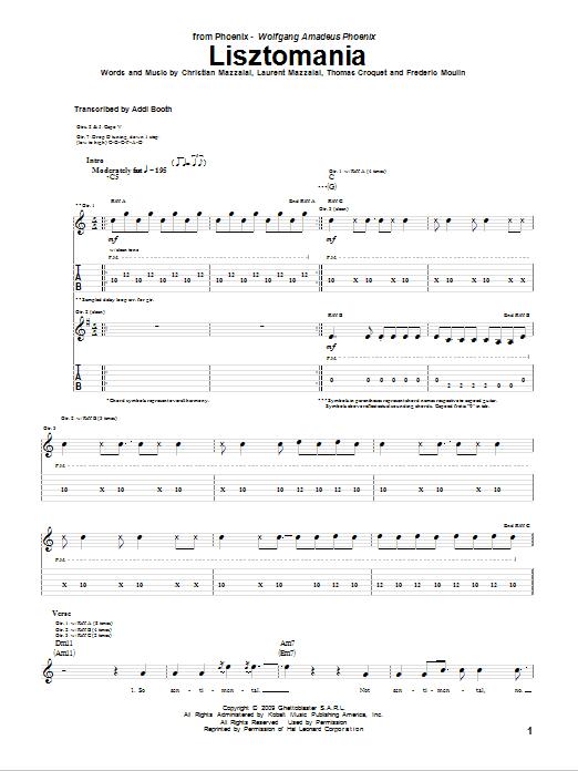 Tablature guitare Lisztomania de Phoenix - Tablature Guitare