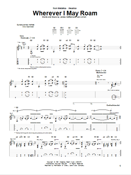 Tablature guitare Wherever I May Roam de Metallica - Tablature Guitare