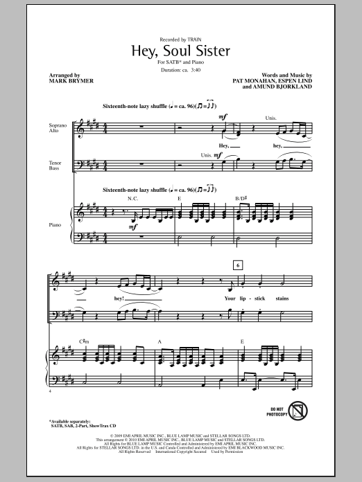 Hey, Soul Sister sheet music for choir and piano (SATB) by Amund Bjorklund