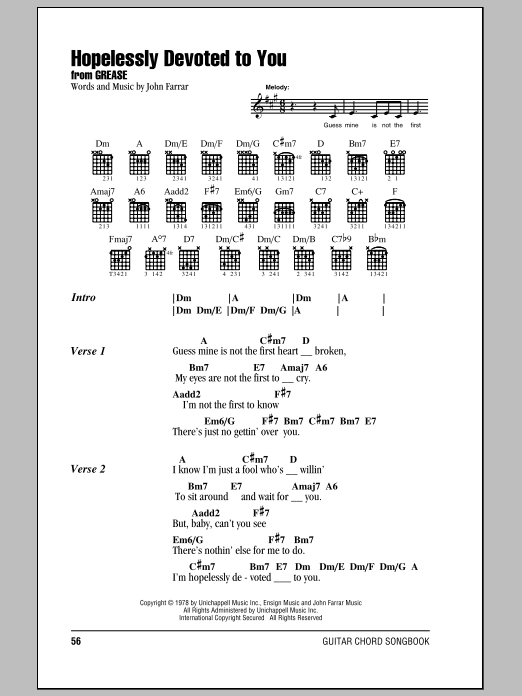 Hopelessly Devoted To You sheet music for guitar solo (chords, lyrics, melody) by John Farrar