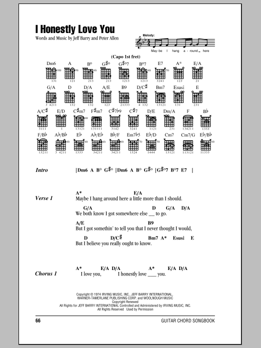 I Honestly Love You sheet music for guitar solo (chords, lyrics, melody) by Peter Allen