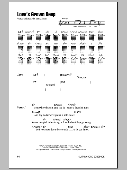 Love's Grown Deep sheet music for guitar solo (chords, lyrics, melody) by Kenny Nolan