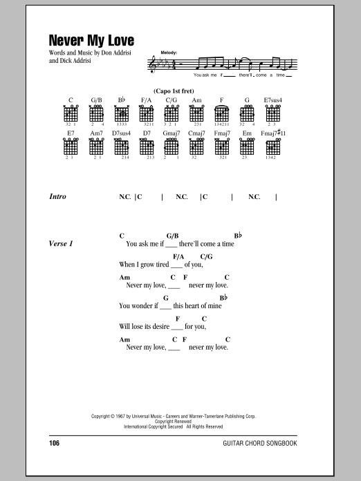 Never My Love sheet music for guitar solo (chords, lyrics, melody) by Don Addrisi
