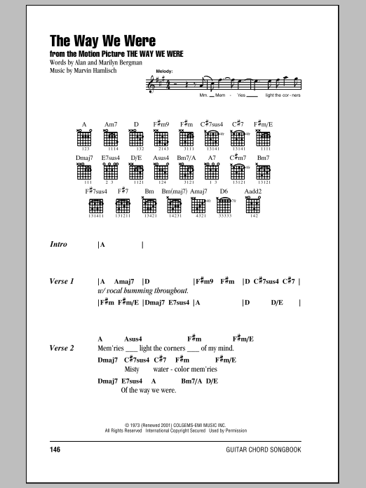 The Way We Were sheet music for guitar solo (chords, lyrics, melody) by Marvin Hamlisch