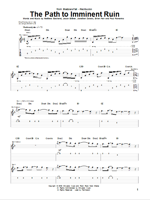 Tablature guitare The Path To Imminent Ruin de Shadows Fall - Tablature Guitare