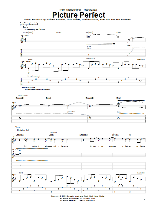 Tablature guitare Picture Perfect de Shadows Fall - Tablature Guitare