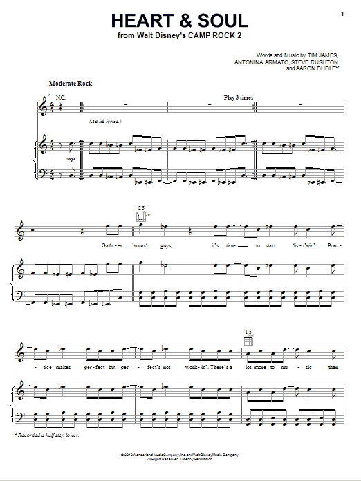 Heart And Soul sheet music for voice, piano or guitar by Tim James