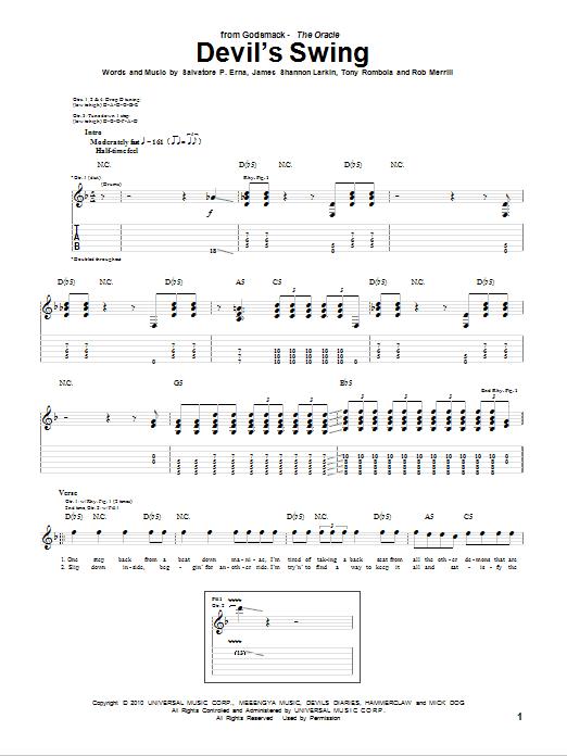 Tablature guitare Devil's Swing de Godsmack - Tablature Guitare