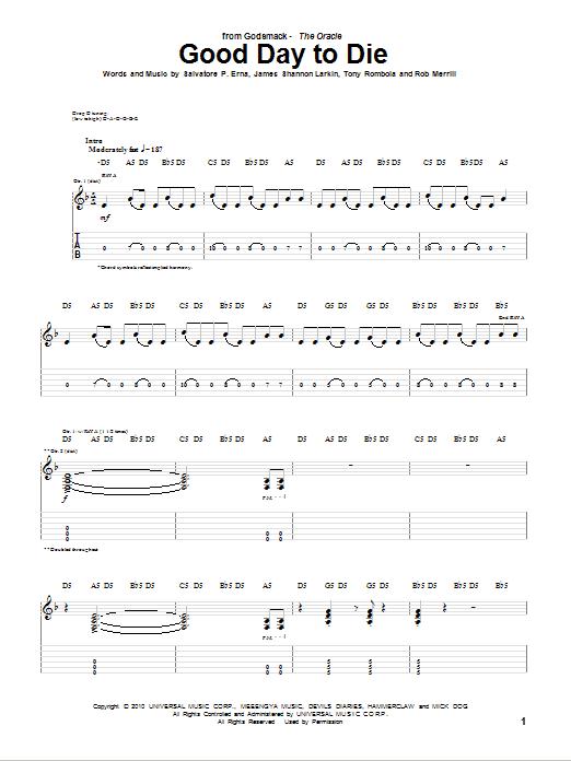 Tablature guitare Good Day To Die de Godsmack - Tablature Guitare
