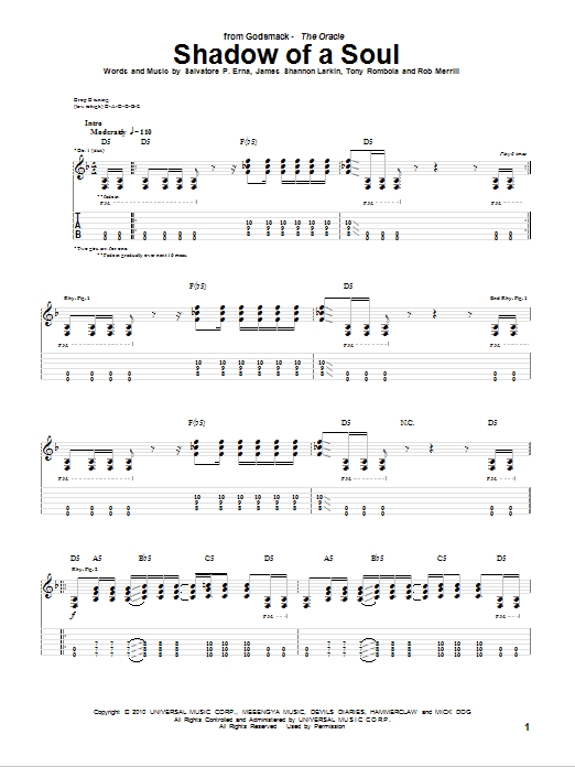 Shadow Of A Soul sheet music for guitar solo (tablature) by Tony Rombola