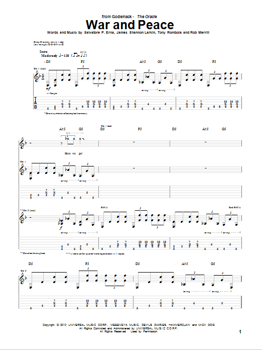 War And Peace sheet music for guitar solo (tablature) by Tony Rombola
