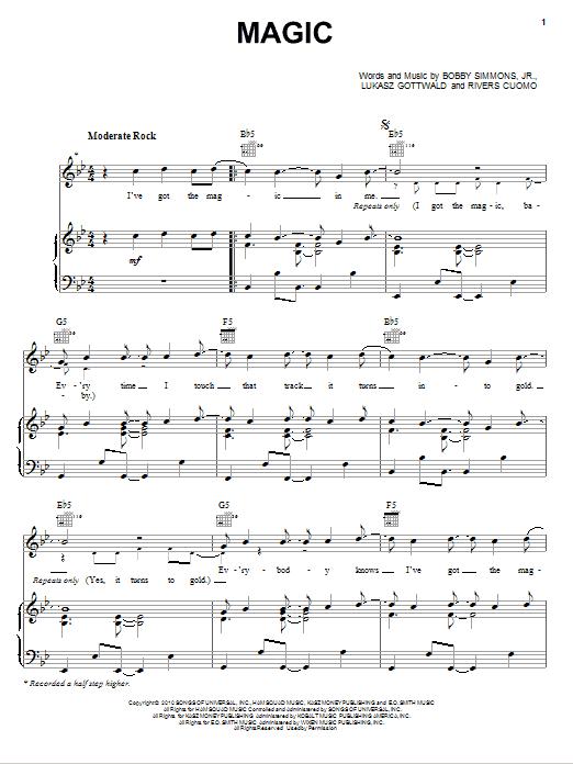Partition piano Magic de B.o.B. featuring Rivers Cuomo - Piano Voix Guitare (Mélodie Main Droite)