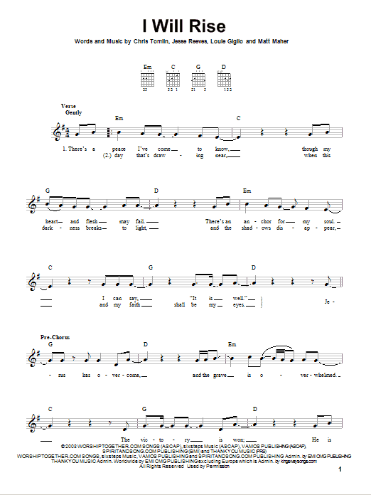 Tablature guitare I Will Rise de Chris Tomlin - Tablature guitare facile