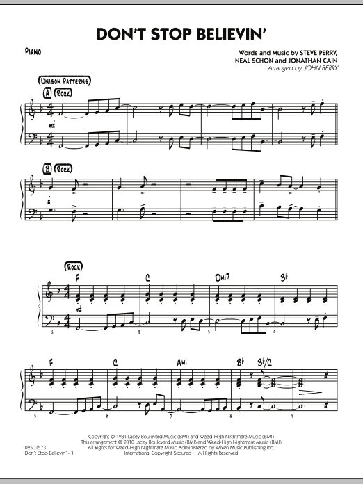 Old Fashioned Don T Stop Believing Chords Piano Pictures - Song ...