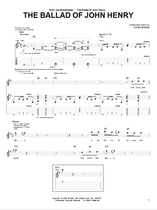Tablature guitare The Ballad Of John Henry de Joe Bonamassa - Tablature Guitare