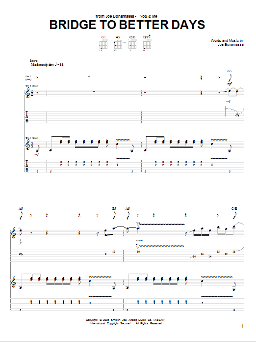 Tablature guitare Bridge To Better Days de Joe Bonamassa - Tablature Guitare