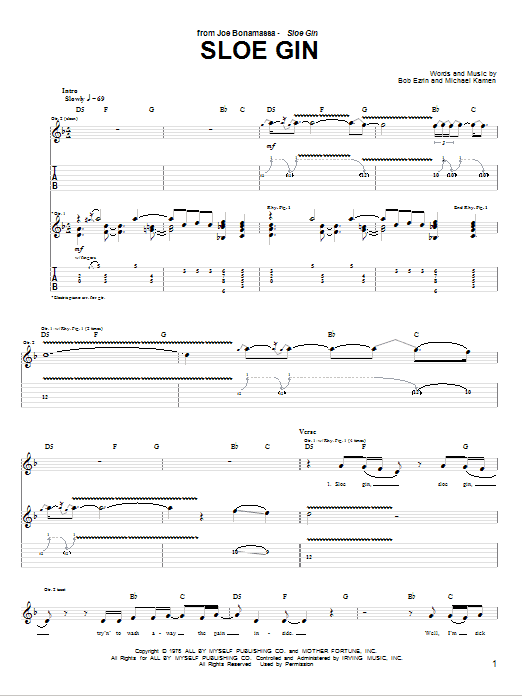 Tablature guitare Sloe Gin de Joe Bonamassa - Tablature Guitare
