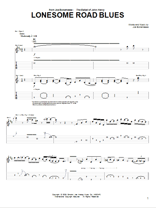 Tablature guitare Lonesome Road Blues de Joe Bonamassa - Tablature Guitare
