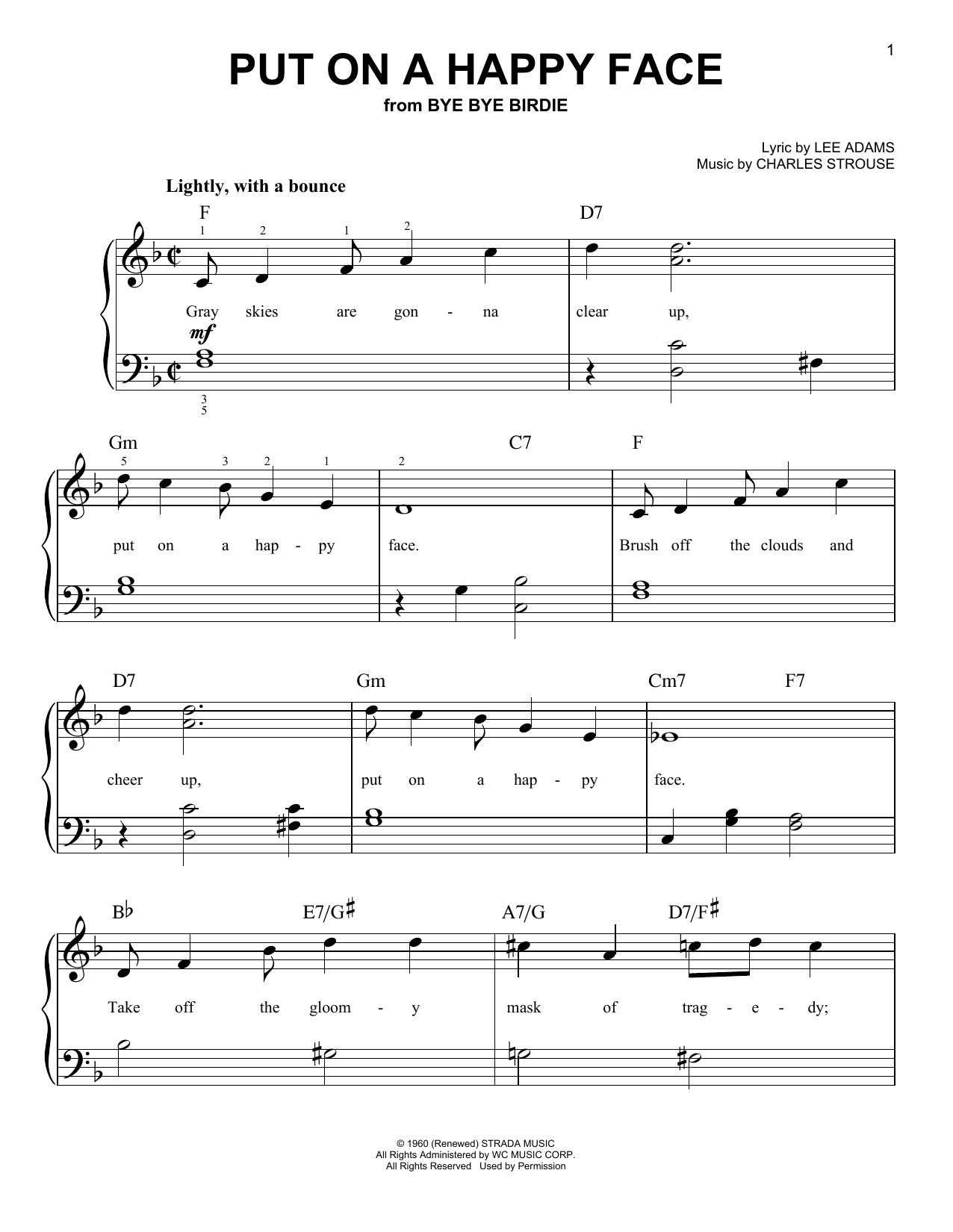 Put On A Happy Face sheet music for piano solo (chords) by Charles Strouse