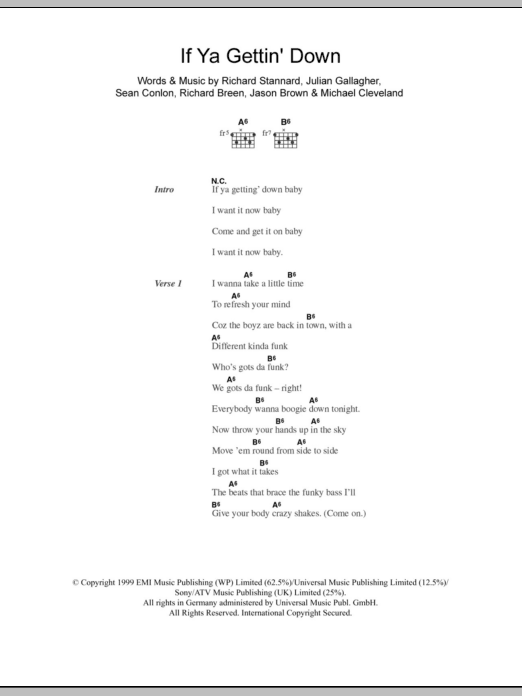 If Ya Gettin' Down sheet music for guitar solo (chords, lyrics, melody) by Sean Conlon