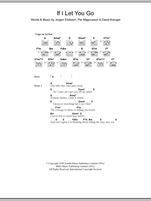 If I Let You Go by Westlife - Guitar Chords/Lyrics - Guitar Instructor