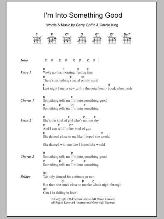 Into something good by herman s hermits guitar chords lyrics