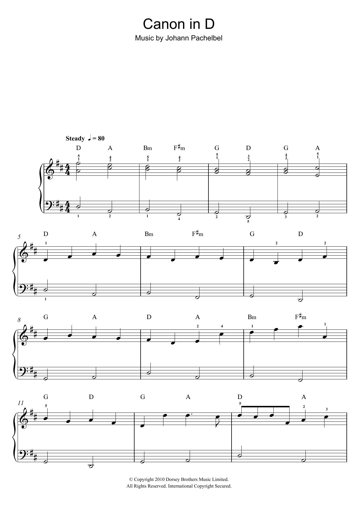 Sheet Music Digital Files To Print Licensed Johann Pachelbel