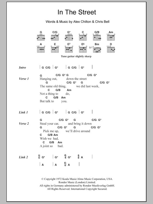 In The Street sheet music for guitar solo (chords, lyrics, melody) by Chris Bell