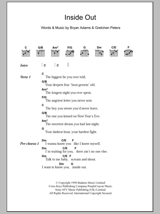 Inside Out sheet music for guitar solo (chords, lyrics, melody) by Gretchen Peters