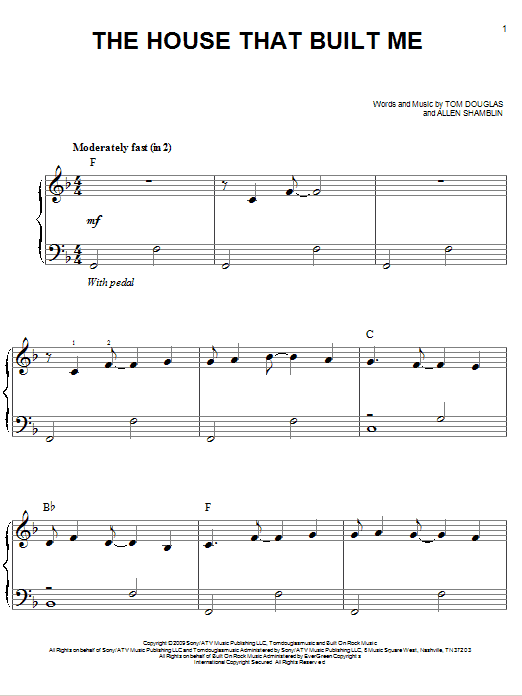 The House That Built Me sheet music for piano solo (chords) by Tom Douglas