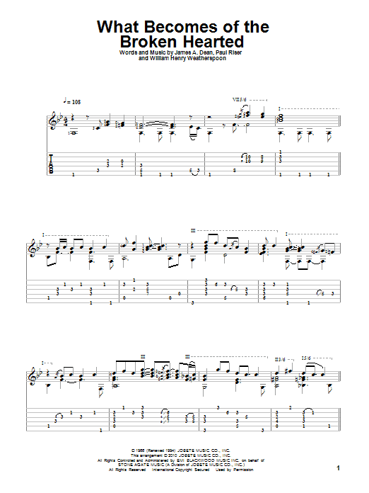 Tablature guitare What Becomes Of The Broken Hearted de Jimmy Ruffin - Tablature Guitare