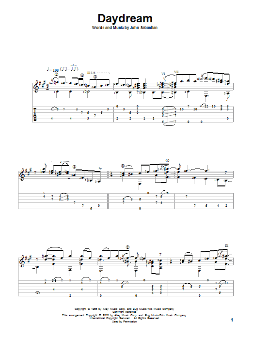 Daydream sheet music for guitar solo by John Sebastian