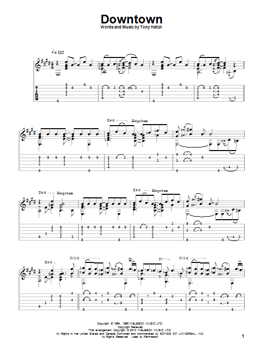 Downtown sheet music for guitar solo by Tony Hatch