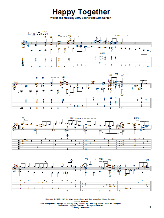 Tablature guitare Happy Together de The Turtles - Tablature Guitare